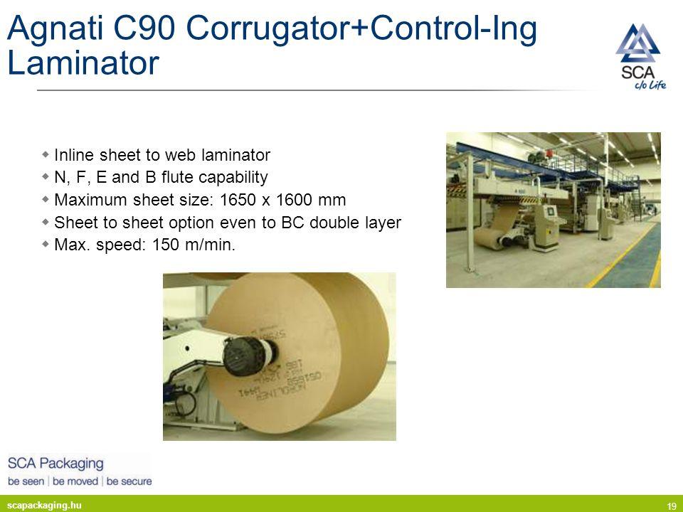 scapackaging.hu 19 Agnati C90 Corrugator+Control-Ing Laminator Inline sheet to web laminator N, F, E and B flute capability Maximum sheet size: 1650 x