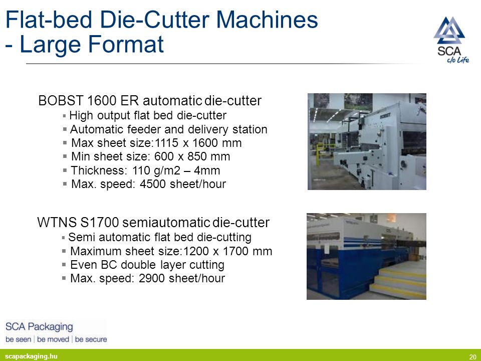 scapackaging.hu 20 Flat-bed Die-Cutter Machines - Large Format WTNS S1700 semiautomatic die-cutter Semi automatic flat bed die-cutting Maximum sheet s