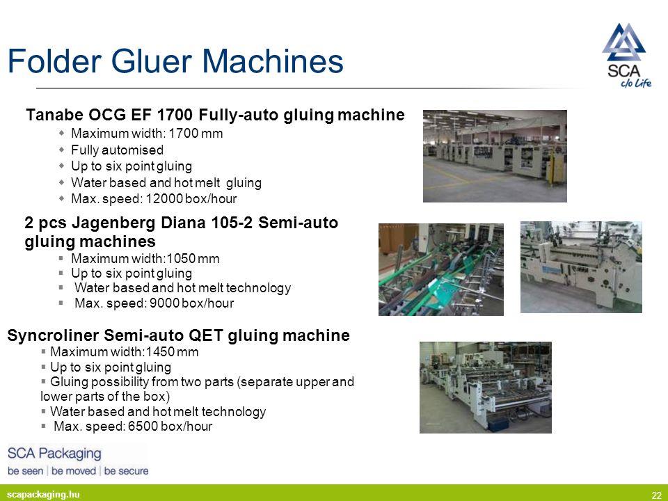 scapackaging.hu 22 Folder Gluer Machines Tanabe OCG EF 1700 Fully-auto gluing machine Maximum width: 1700 mm Fully automised Up to six point gluing Wa