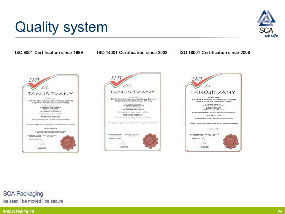 scapackaging.hu 26 Quality system ISO 9001 Certification since 1999 ISO 14001 Certification since 2003 ISO 18001 Certification since 2008