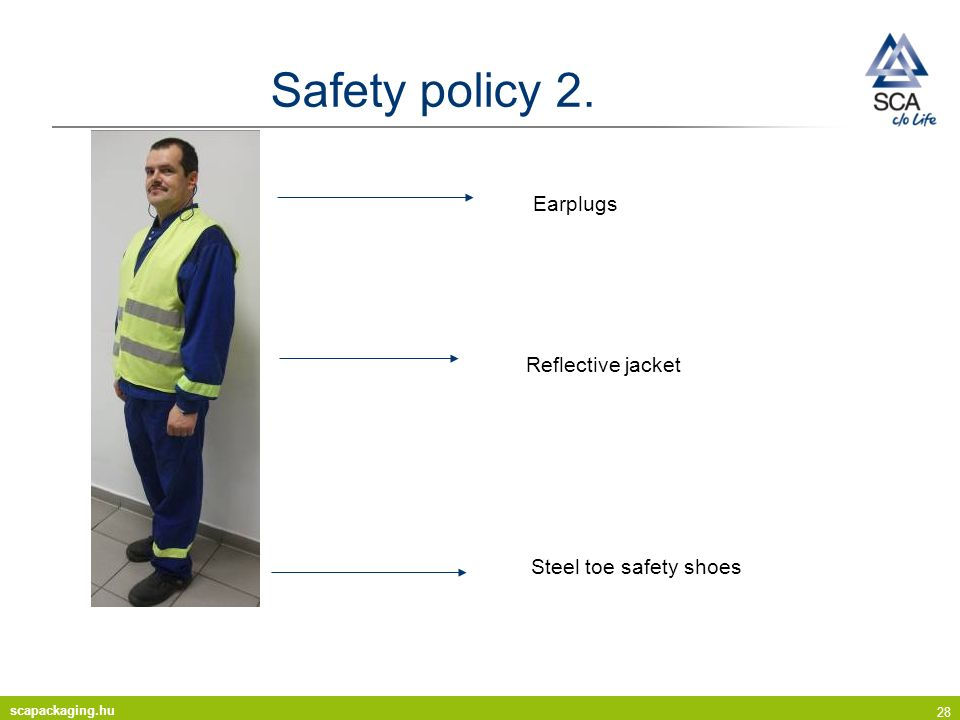 scapackaging.hu 28 Safety policy 2. Reflective jacket Steel toe safety shoes Earplugs