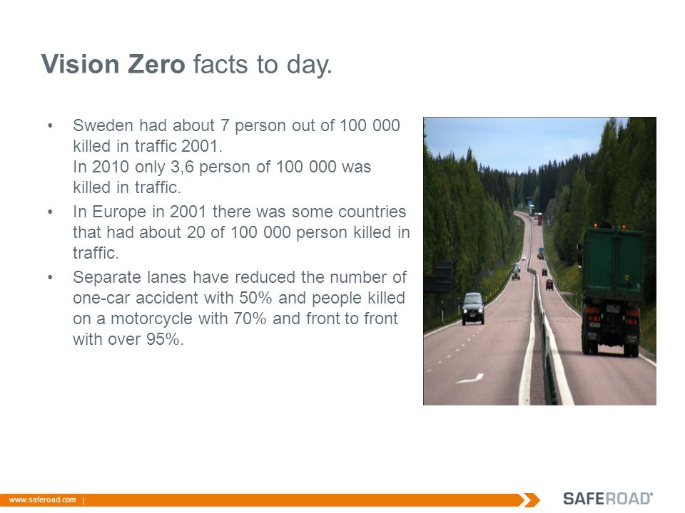 Vision Zero facts to day. Sweden had about 7 person out of killed in traffic