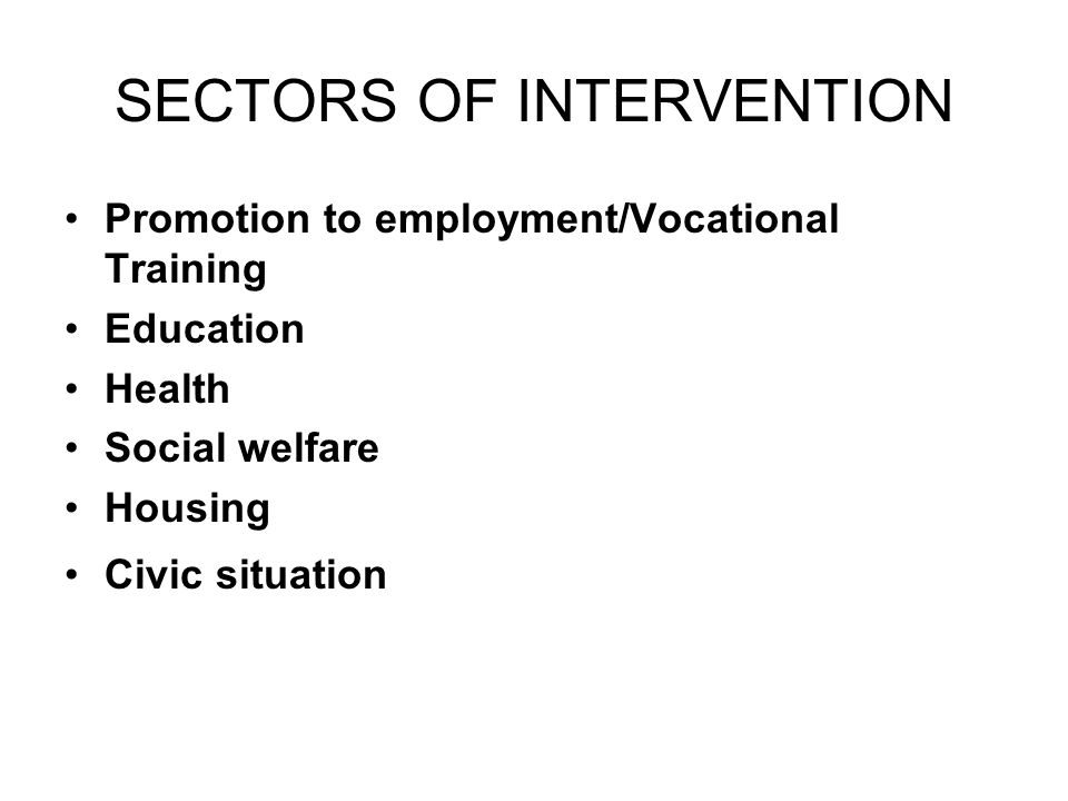 SECTORS OF INTERVENTION Promotion to employment/Vocational Training Education Health Social welfare Housing Civic situation
