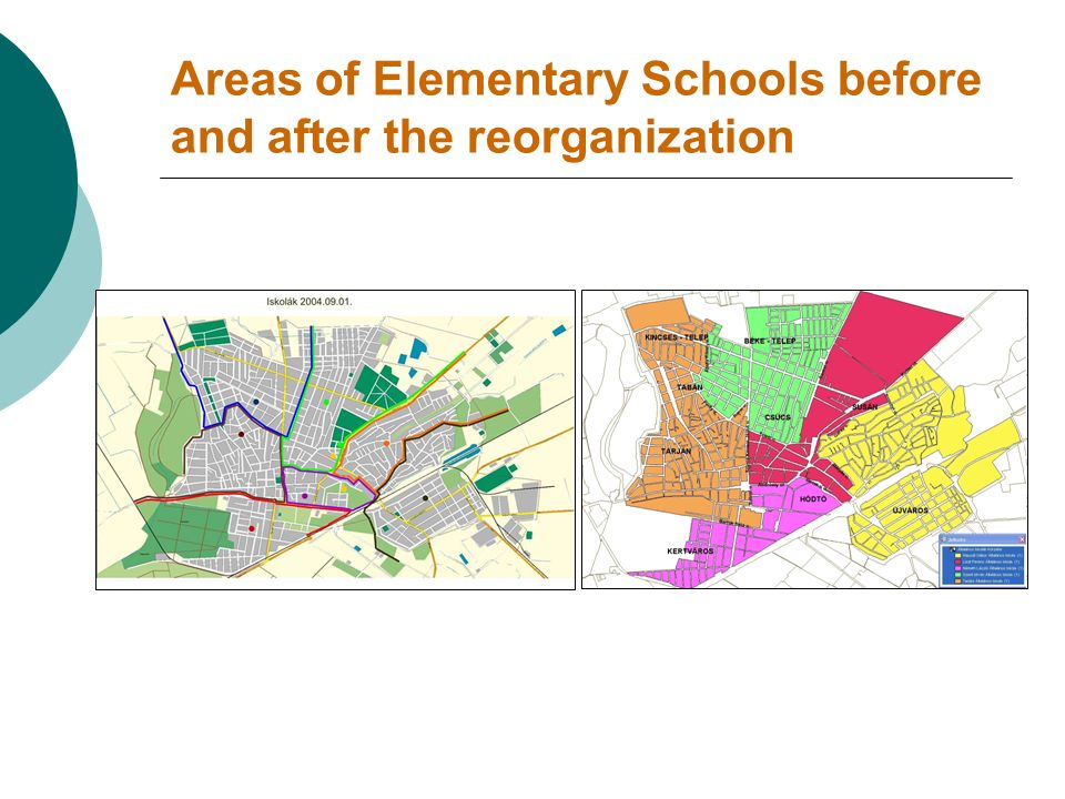 Areas of Elementary Schools before and after the reorganization