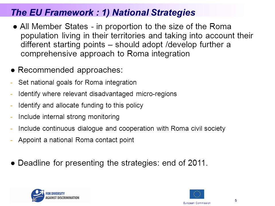 European Commission 5 The EU Framework : 1) National Strategies All Member States - in proportion to the size of the Roma population living in their territories and taking into account their different starting points – should adopt /develop further a comprehensive approach to Roma integration Deadline for presenting the strategies: end of 2011.