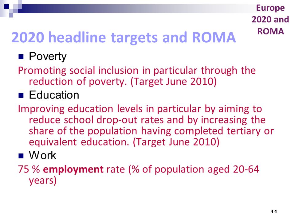 11 2020 headline targets and ROMA Poverty Promoting social inclusion in particular through the reduction of poverty. (Target June 2010) Education Impr