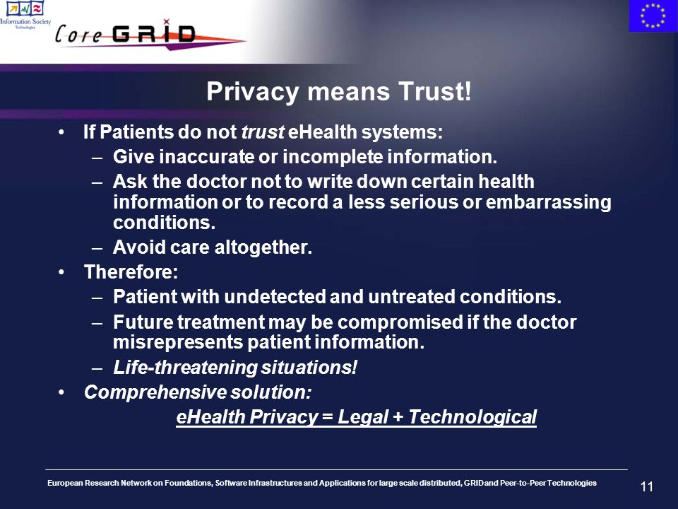 European Research Network on Foundations, Software Infrastructures and Applications for large scale distributed, GRID and Peer-to-Peer Technologies 11 Privacy means Trust.