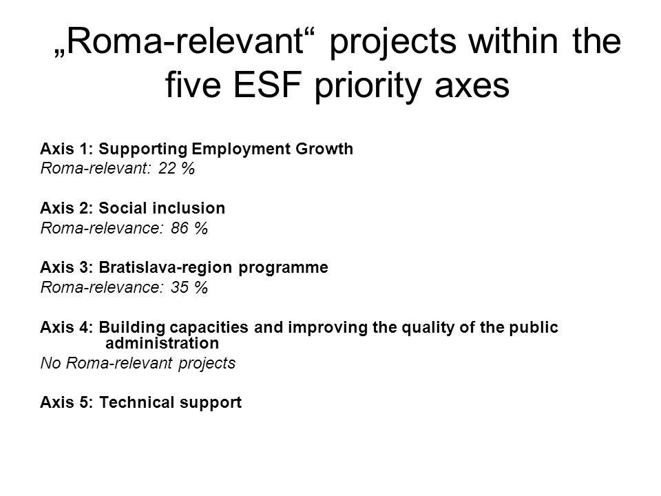 Roma-relevant projects within the five ESF priority axes Axis 1: Supporting Employment Growth Roma-relevant: 22 % Axis 2: Social inclusion Roma-releva