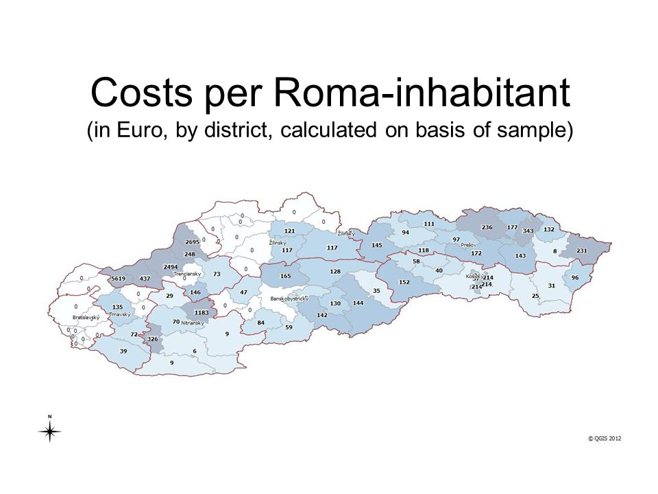 Costs per Roma-inhabitant (in Euro, by district, calculated on basis of sample)