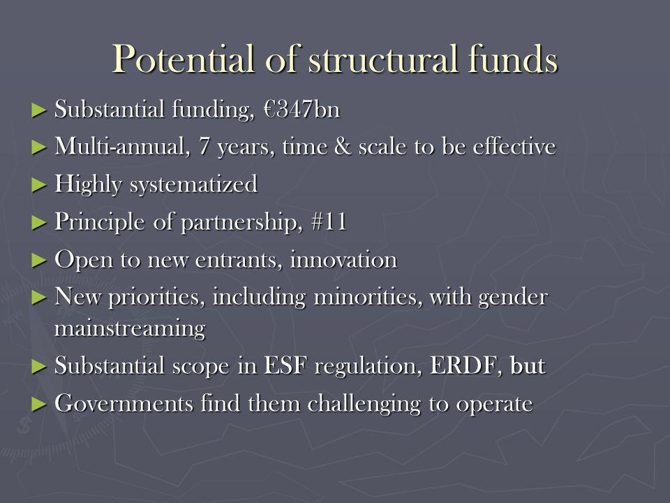 Potential of structural funds Substantial funding, 347bn Substantial funding, 347bn Multi-annual, 7 years, time & scale to be effective Multi-annual, 7 years, time & scale to be effective Highly systematized Highly systematized Principle of partnership, #11 Principle of partnership, #11 Open to new entrants, innovation Open to new entrants, innovation New priorities, including minorities, with gender mainstreaming New priorities, including minorities, with gender mainstreaming Substantial scope in ESF regulation, ERDF, but Substantial scope in ESF regulation, ERDF, but Governments find them challenging to operate Governments find them challenging to operate