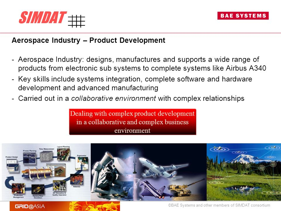 ©BAE Systems and other members of SIMDAT consortium Aerospace Industry – Product Development -Aerospace Industry: designs, manufactures and supports a wide range of products from electronic sub systems to complete systems like Airbus A340 -Key skills include systems integration, complete software and hardware development and advanced manufacturing -Carried out in a collaborative environment with complex relationships Dealing with complex product development in a collaborative and complex business environment