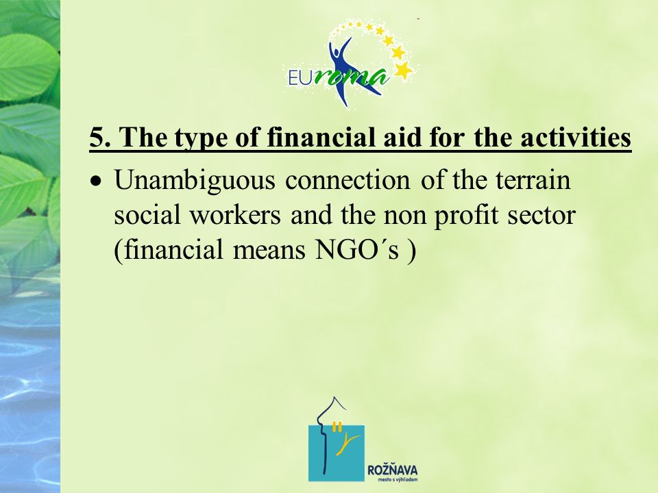 5. The type of financial aid for the activities Unambiguous connection of the terrain social workers and the non profit sector (financial means NGO´s