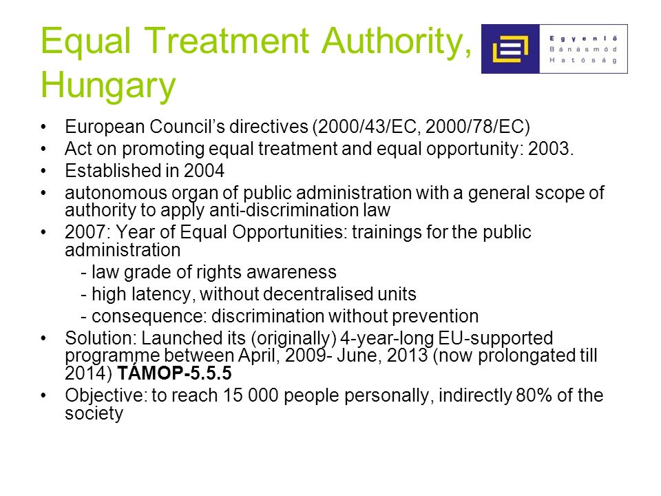 Equal Treatment Authority, Hungary European Councils directives (2000/43/EC, 2000/78/EC) Act on promoting equal treatment and equal opportunity: 2003.