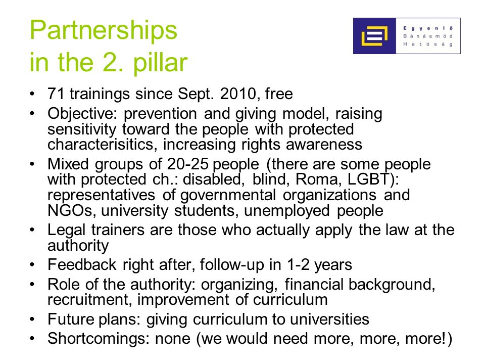 Partnerships in the 2. pillar 71 trainings since Sept.