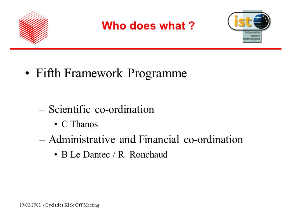 19/02/ Cyclades Kick Off Meeting Fifth Framework Programme –Scientific co-ordination C Thanos –Administrative and Financial co-ordination B Le Dantec / R Ronchaud Who does what
