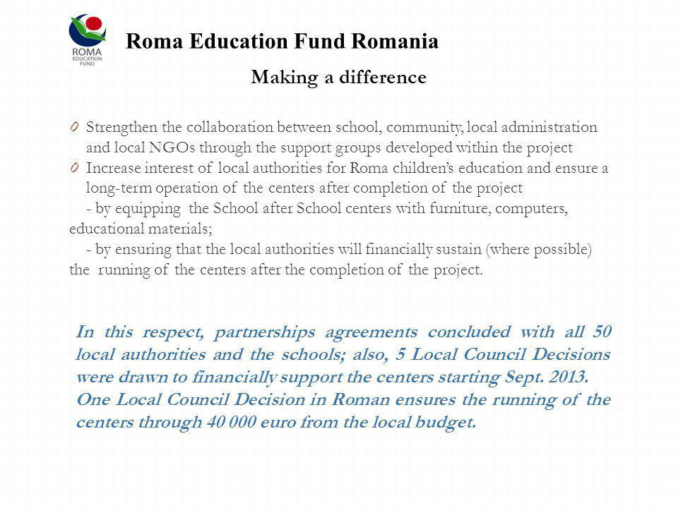 Making a difference 0 Strengthen the collaboration between school, community, local administration and local NGOs through the support groups developed within the project 0 Increase interest of local authorities for Roma childrens education and ensure a long-term operation of the centers after completion of the project - by equipping the School after School centers with furniture, computers, educational materials; - by ensuring that the local authorities will financially sustain (where possible) the running of the centers after the completion of the project.