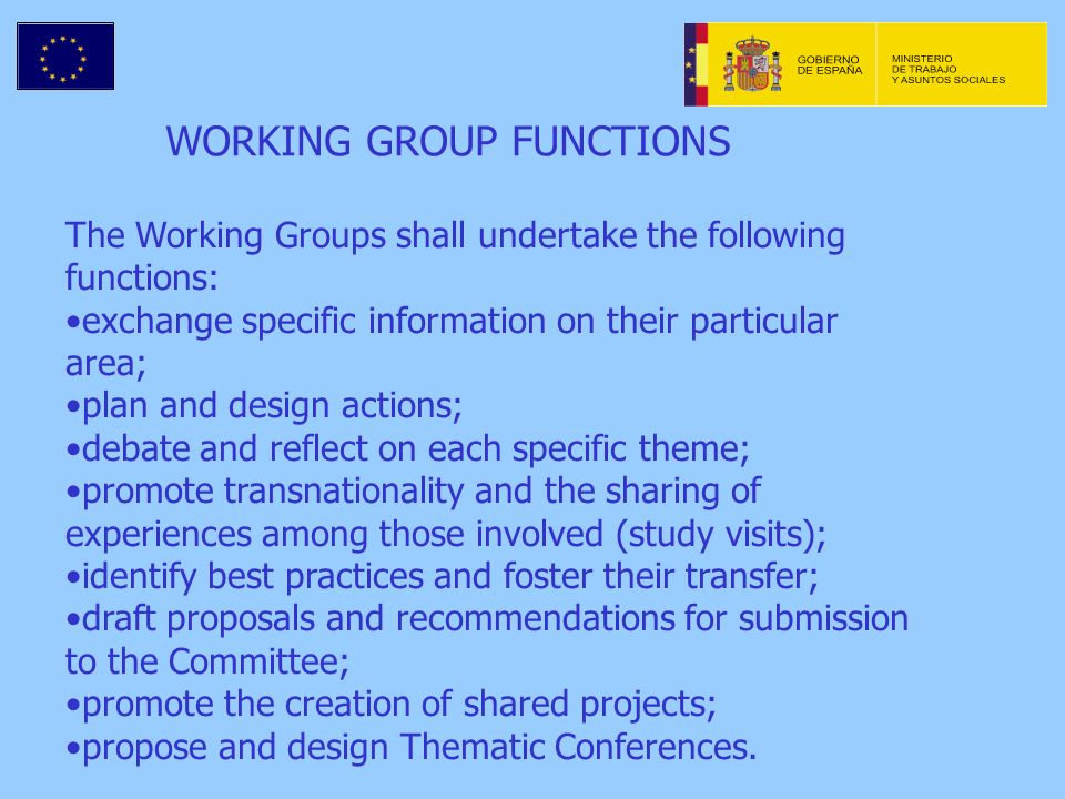WORKING GROUP FUNCTIONS The Working Groups shall undertake the following functions: exchange specific information on their particular area; plan and design actions; debate and reflect on each specific theme; promote transnationality and the sharing of experiences among those involved (study visits); identify best practices and foster their transfer; draft proposals and recommendations for submission to the Committee; promote the creation of shared projects; propose and design Thematic Conferences.