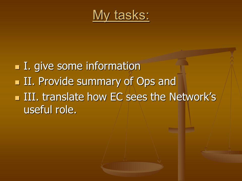 My tasks: I. give some information I. give some information II.