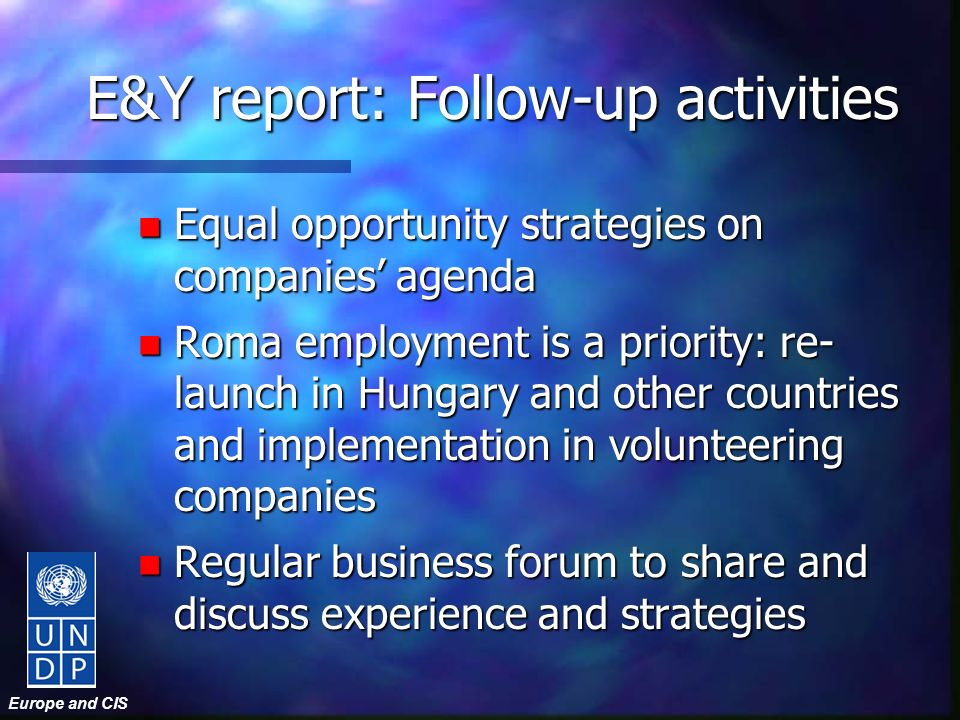 Europe and CIS E&Y report: Follow-up activities n Equal opportunity strategies on companies agenda n Roma employment is a priority: re- launch in Hungary and other countries and implementation in volunteering companies n Regular business forum to share and discuss experience and strategies