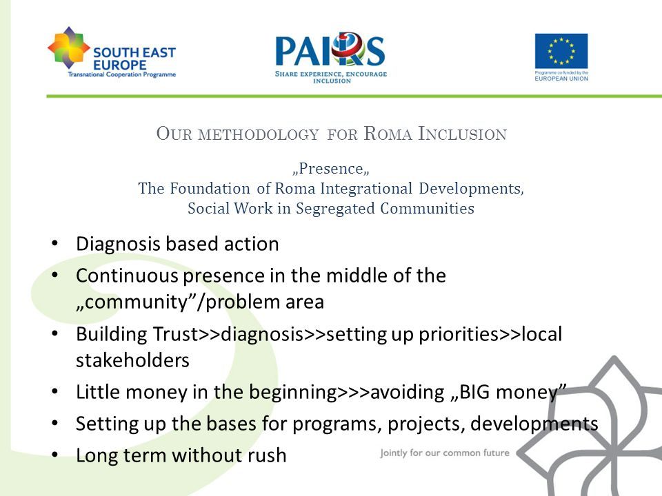 O UR METHODOLOGY FOR R OMA I NCLUSION Presence The Foundation of Roma Integrational Developments, Social Work in Segregated Communities Diagnosis based action Continuous presence in the middle of thecommunity/problem area Building Trust>>diagnosis>>setting up priorities>>local stakeholders Little money in the beginning>>>avoiding BIG money Setting up the bases for programs, projects, developments Long term without rush