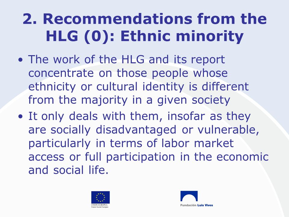 2. Recommendations from the HLG (0): Ethnic minority The work of the HLG and its report concentrate on those people whose ethnicity or cultural identi