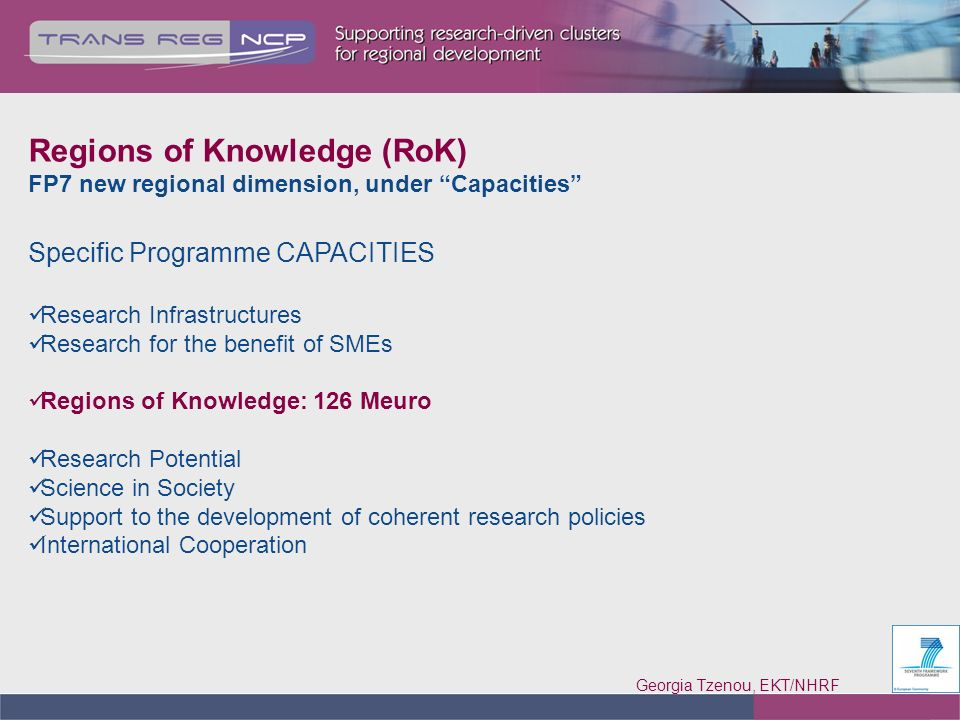 Georgia Tzenou, EKT/NHRF 3 Regions of Knowledge (RoK) FP7 new regional dimension, under Capacities Specific Programme CAPACITIES Research Infrastructures Research for the benefit of SMEs Regions of Knowledge: 126 Meuro Research Potential Science in Society Support to the development of coherent research policies International Cooperation