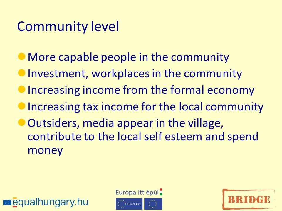 Community level More capable people in the community Investment, workplaces in the community Increasing income from the formal economy Increasing tax