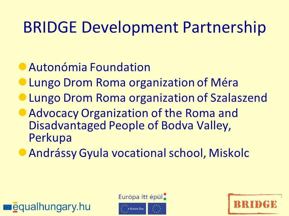 BRIDGE Development Partnership Autonómia Foundation Lungo Drom Roma organization of Méra Lungo Drom Roma organization of Szalaszend Advocacy Organizat
