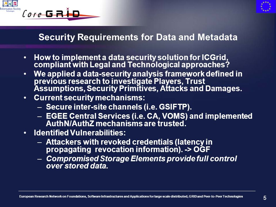 European Research Network on Foundations, Software Infrastructures and Applications for large scale distributed, GRID and Peer-to-Peer Technologies 5 Security Requirements for Data and Metadata How to implement a data security solution for ICGrid, compliant with Legal and Technological approaches.