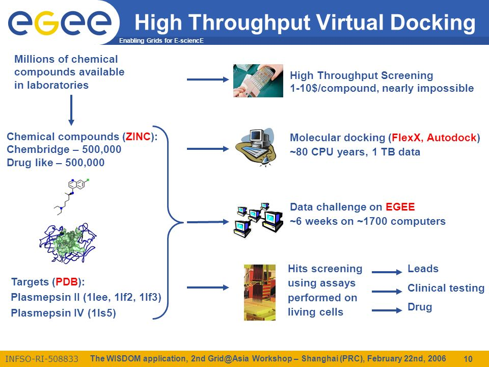 Enabling Grids for E-sciencE INFSO-RI-508833 The WISDOM application, 2nd Grid@Asia Workshop – Shanghai (PRC), February 22nd, 2006 10 High Throughput Virtual Docking Chemical compounds (ZINC): Chembridge – 500,000 Drug like – 500,000 Targets (PDB): Plasmepsin II (1lee, 1lf2, 1lf3) Plasmepsin IV (1ls5) Millions of chemical compounds available in laboratories High Throughput Screening 1-10$/compound, nearly impossible Molecular docking (FlexX, Autodock) ~80 CPU years, 1 TB data Data challenge on EGEE ~6 weeks on ~1700 computers Hits screening using assays performed on living cells Leads Clinical testing Drug
