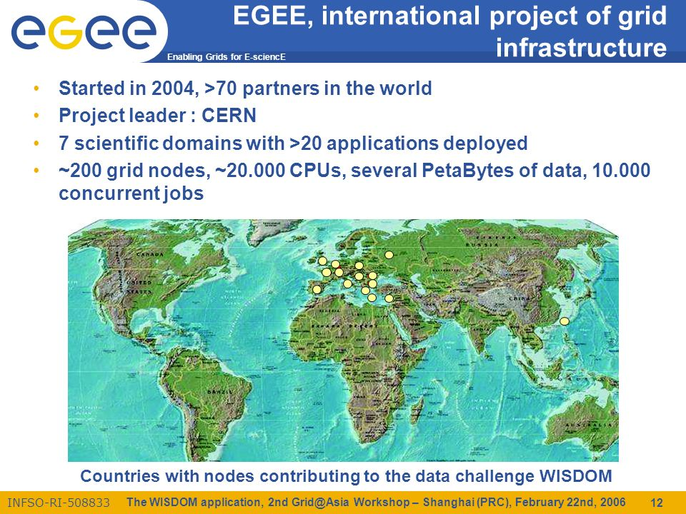 Enabling Grids for E-sciencE INFSO-RI-508833 The WISDOM application, 2nd Grid@Asia Workshop – Shanghai (PRC), February 22nd, 2006 12 EGEE, international project of grid infrastructure Started in 2004, >70 partners in the world Project leader : CERN 7 scientific domains with >20 applications deployed ~200 grid nodes, ~20.000 CPUs, several PetaBytes of data, 10.000 concurrent jobs Countries with nodes contributing to the data challenge WISDOM