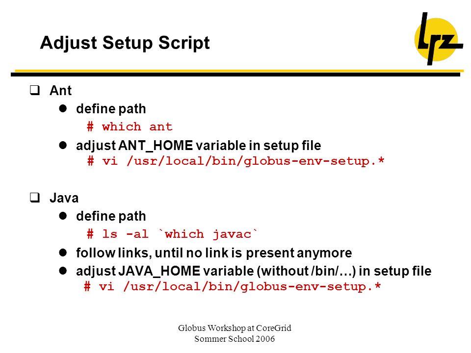 Globus Workshop at CoreGrid Sommer School 2006 Adjust Setup Script Ant define path # which ant adjust ANT_HOME variable in setup file # vi /usr/local/