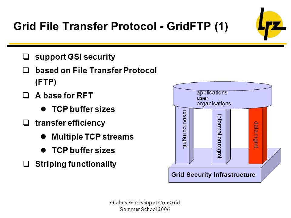 Globus Workshop at CoreGrid Sommer School 2006 Grid File Transfer Protocol - GridFTP (1) support GSI security based on File Transfer Protocol (FTP) A