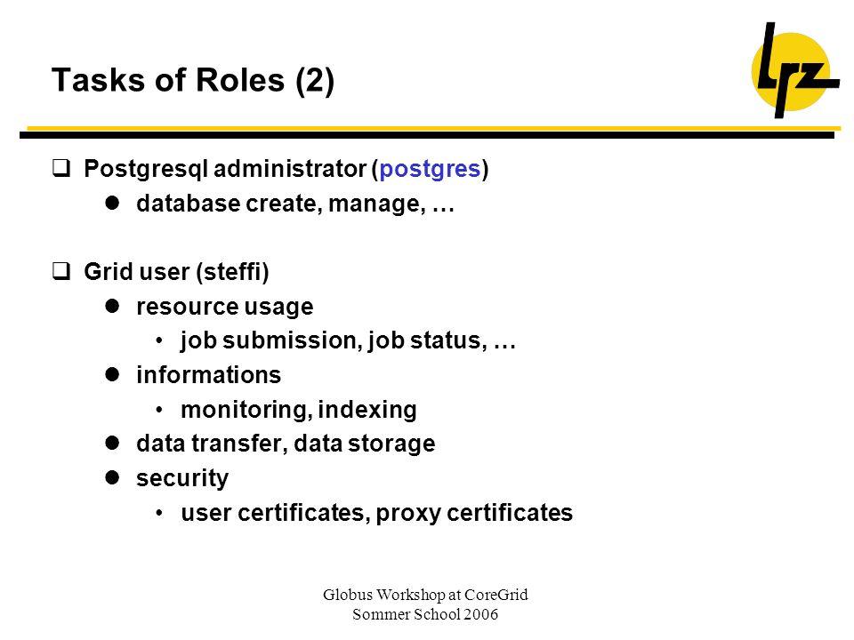 Globus Workshop at CoreGrid Sommer School 2006 Tasks of Roles (2) Postgresql administrator (postgres) database create, manage, … Grid user (steffi) re