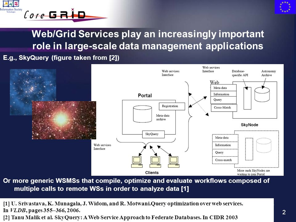 2 Web/Grid Services play an increasingly important role in large-scale data management applications E.g., SkyQuery (figure taken from [2]) Or more generic WSMSs that compile, optimize and evaluate workflows composed of multiple calls to remote WSs in order to analyze data [1] [1] U.
