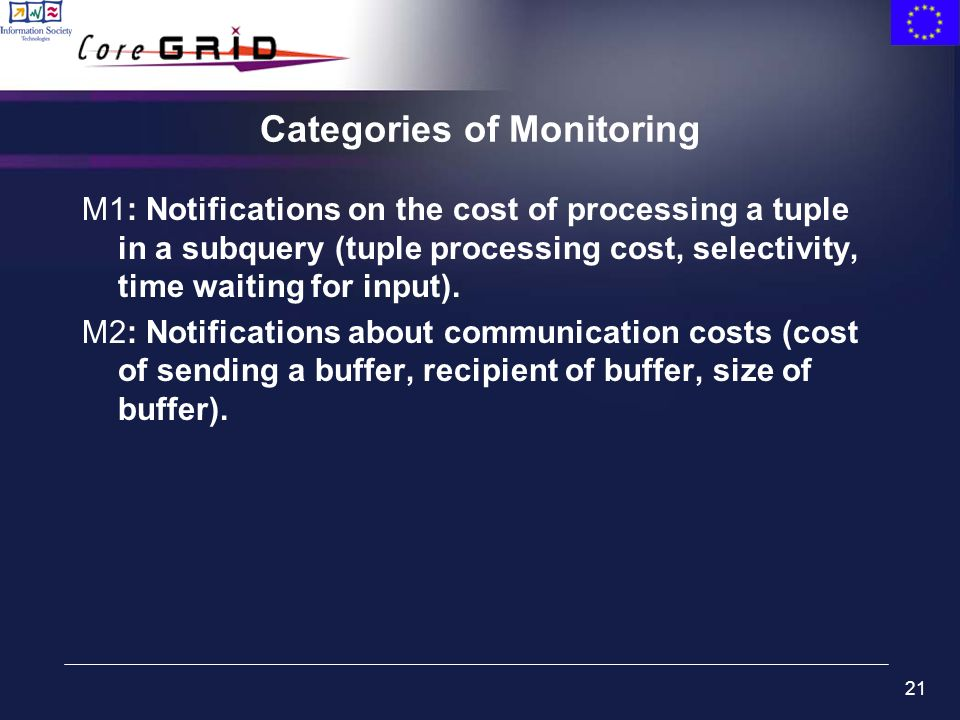 21 Categories of Monitoring M1: Notifications on the cost of processing a tuple in a subquery (tuple processing cost, selectivity, time waiting for in