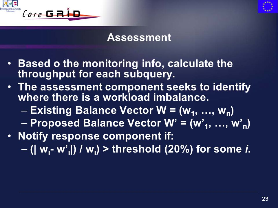 23 Assessment Based o the monitoring info, calculate the throughput for each subquery.