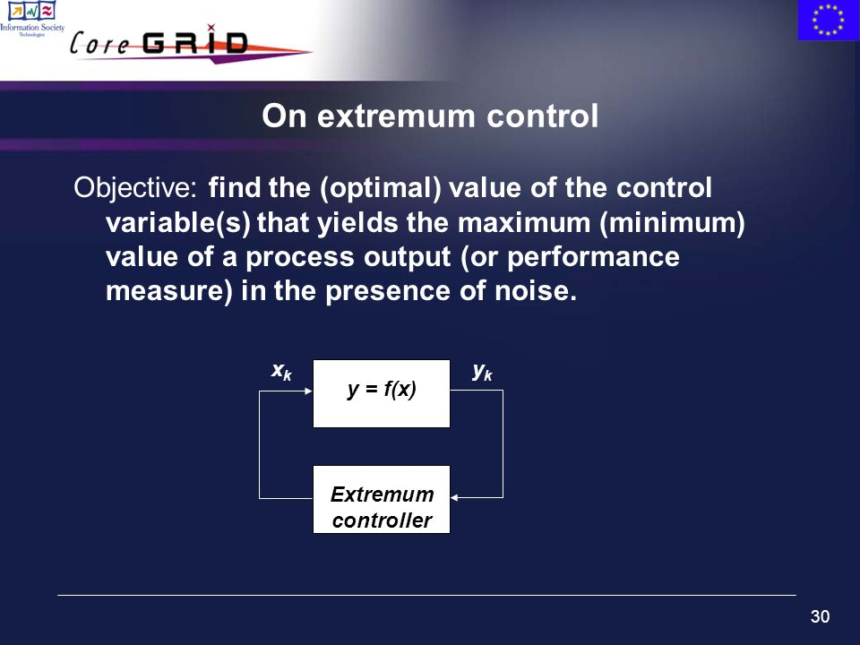 30 On extremum control Objective: find the (optimal) value of the control variable(s) that yields the maximum (minimum) value of a process output (or performance measure) in the presence of noise.