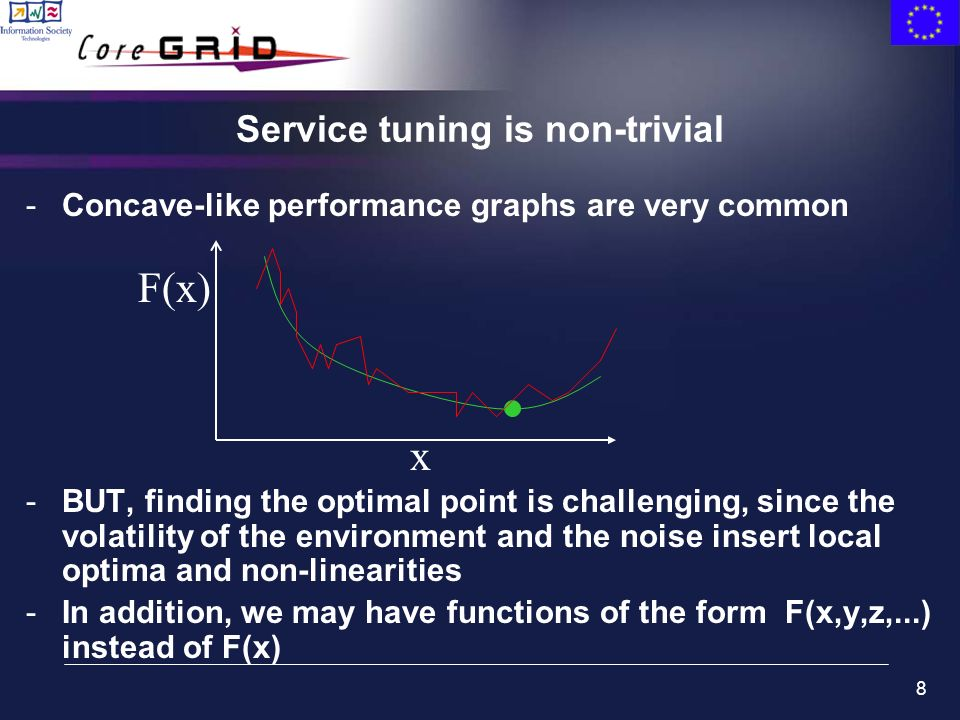 8 -Concave-like performance graphs are very common -BUT, finding the optimal point is challenging, since the volatility of the environment and the noise insert local optima and non-linearities -In addition, we may have functions of the form F(x,y,z,...) instead of F(x) Service tuning is non-trivial F(x) x
