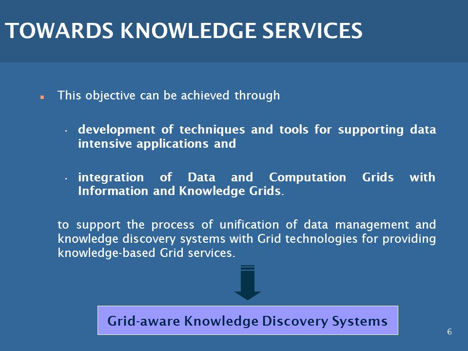 6 SCIENTIFIC OBJECTIVES n This objective can be achieved through development of techniques and tools for supporting data intensive applications and in