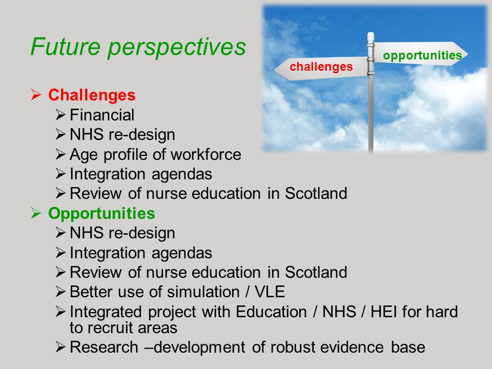 Future perspectives Challenges Financial NHS re-design Age profile of workforce Integration agendas Review of nurse education in Scotland Opportunitie