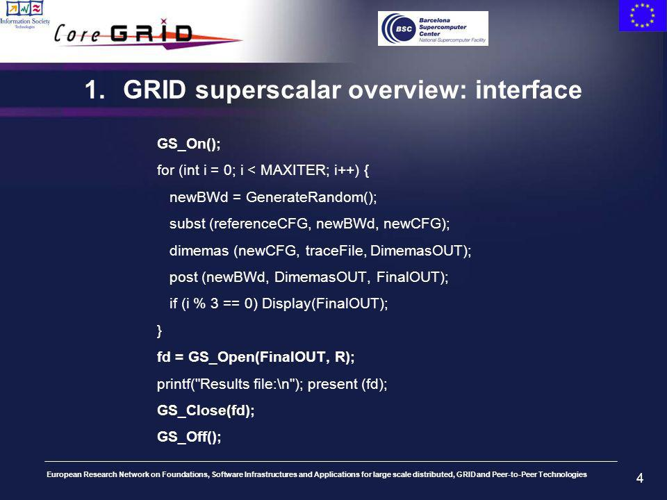 European Research Network on Foundations, Software Infrastructures and Applications for large scale distributed, GRID and Peer-to-Peer Technologies 4 1.GRID superscalar overview: interface GS_On(); for (int i = 0; i < MAXITER; i++) { newBWd = GenerateRandom(); subst (referenceCFG, newBWd, newCFG); dimemas (newCFG, traceFile, DimemasOUT); post (newBWd, DimemasOUT, FinalOUT); if (i % 3 == 0) Display(FinalOUT); } fd = GS_Open(FinalOUT, R); printf( Results file:\n ); present (fd); GS_Close(fd); GS_Off();