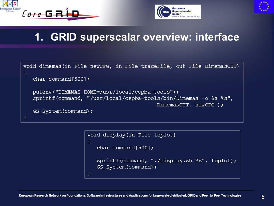 European Research Network on Foundations, Software Infrastructures and Applications for large scale distributed, GRID and Peer-to-Peer Technologies 5 1.GRID superscalar overview: interface void dimemas(in File newCFG, in File traceFile, out File DimemasOUT) { char command[500]; putenv( DIMEMAS_HOME=/usr/local/cepba-tools ); sprintf(command, /usr/local/cepba-tools/bin/Dimemas -o %s %s , DimemasOUT, newCFG ); GS_System(command); } void display(in File toplot) { char command[500]; sprintf(command, ./display.sh %s , toplot); GS_System(command); }