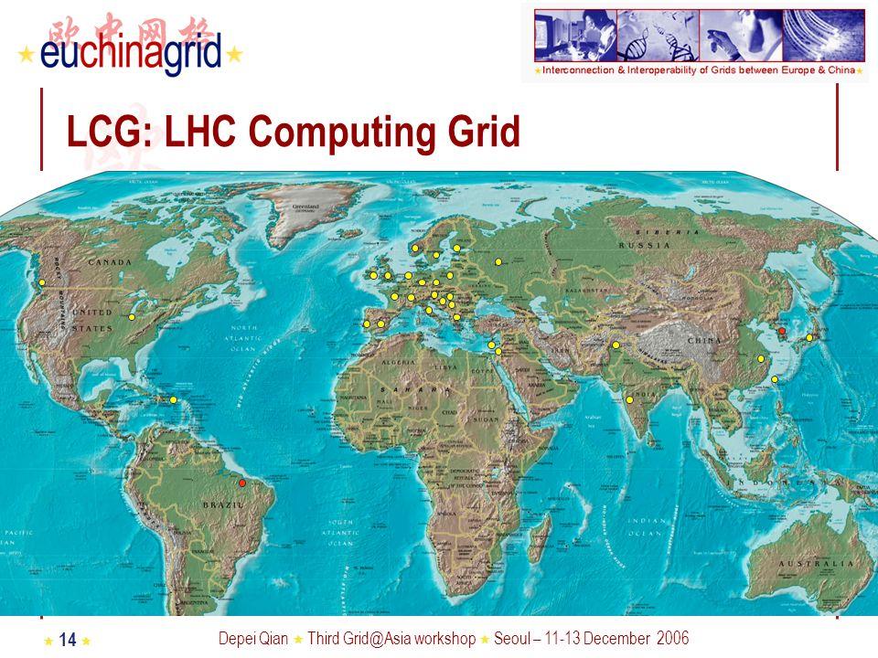 Depei Qian Third Grid@Asia workshop Seoul – 11-13 December 2006 14 LCG: LHC Computing Grid