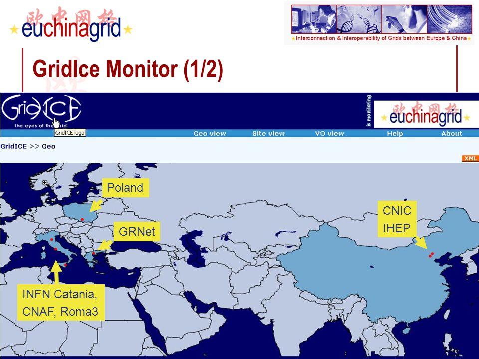 Depei Qian Third Grid@Asia workshop Seoul – 11-13 December 2006 20 GridIce Monitor (1/2) INFN Catania, CNAF, Roma3 Poland GRNet CNIC IHEP