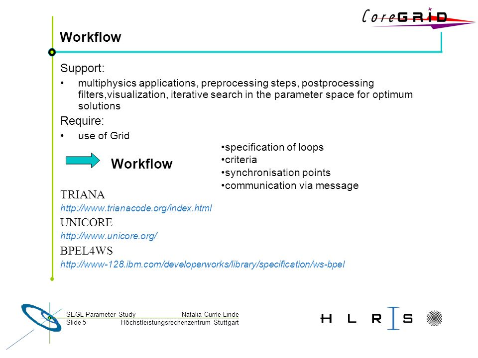 Höchstleistungsrechenzentrum Stuttgart Natalia Currle-LindeSEGL Parameter Study Slide 5 Workflow Support: multiphysics applications, preprocessing ste