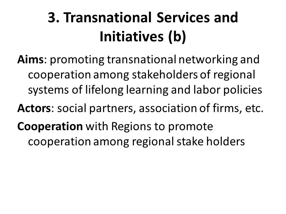 3. Transnational Services and Initiatives (b) Aims: promoting transnational networking and cooperation among stakeholders of regional systems of lifel