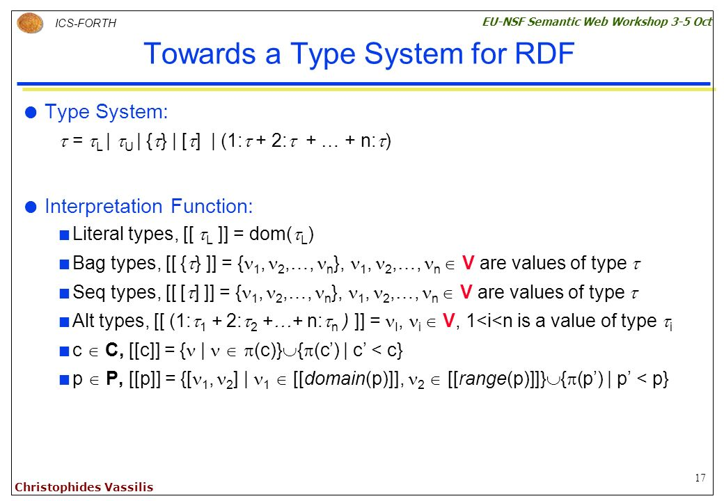 17 ICS-FORTH EU-NSF Semantic Web Workshop 3-5 Oct Christophides Vassilis Towards a Type System for RDF Type System: = L | U | { } | [ ] | (1: + 2: + … + n: ) Interpretation Function: Literal types, [[ L ]] = dom( L ) Bag types, [[ { } ]] = { 1, 2,…, n }, 1, 2,…, n V are values of type Seq types, [[ [ ] ]] = { 1, 2,…, n }, 1, 2,…, n V are values of type Alt types, [[ (1: 1 + 2: 2 +…+ n: n ) ]] = I, i V, 1<i<n is a value of type i c C, [[c]] = { | (c)} { (c) | c < c} p P, [[p]] = {[ 1, 2 ] | 1 [[domain(p)]], 2 [[range(p)]]} { (p) | p < p}