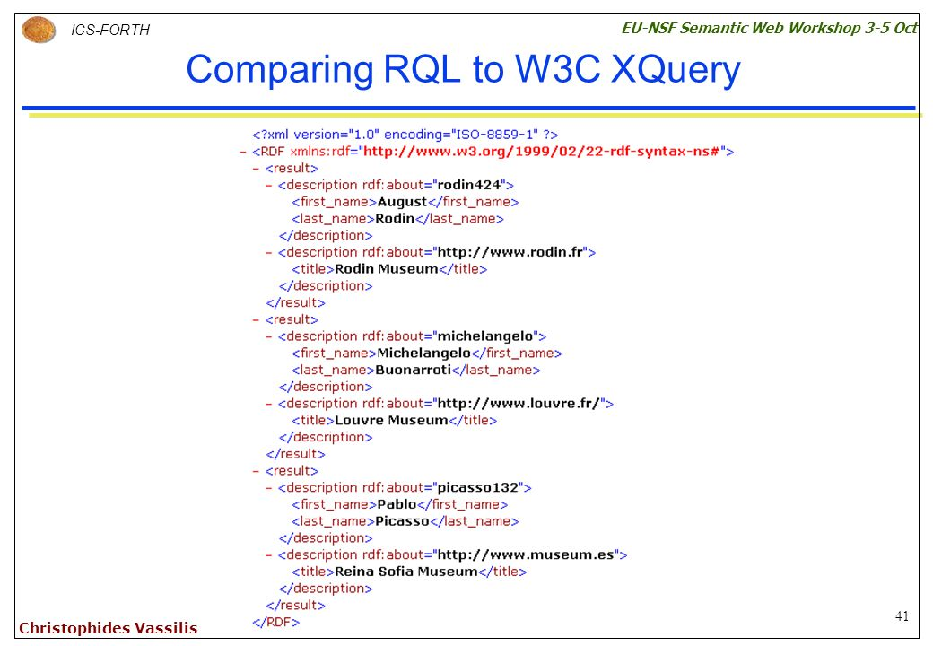 41 ICS-FORTH EU-NSF Semantic Web Workshop 3-5 Oct Christophides Vassilis Comparing RQL to W3C XQuery