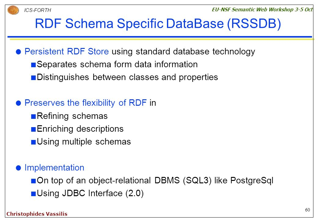 60 ICS-FORTH EU-NSF Semantic Web Workshop 3-5 Oct Christophides Vassilis RDF Schema Specific DataBase (RSSDB) Persistent RDF Store using standard database technology Separates schema form data information Distinguishes between classes and properties Preserves the flexibility of RDF in Refining schemas Enriching descriptions Using multiple schemas Implementation On top of an object-relational DBMS (SQL3) like PostgreSql Using JDBC Interface (2.0)